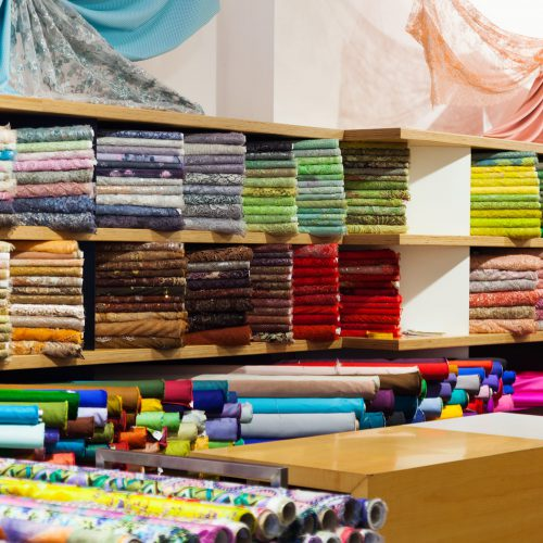 textiles for sale in fabric shop